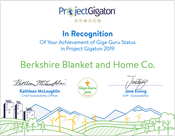 Berkshire Blanket Received a Giga-Guru Certificate from Walmart for its Achievement in Sustainable Development